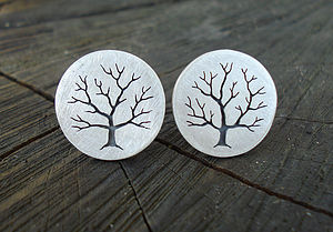 Sterling Silver Tree Cufflinks - cufflinks