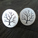 Sterling Silver Tree Cufflinks