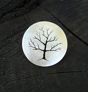 Sterling Silver Tree Brooch Pin - pins & brooches