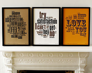 1960'S Letterpress Music Prints Collection - shop by price