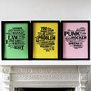 Punk Collection: Letterpress Music Prints