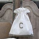 Drawstring Linen Bag With Applique Monogram