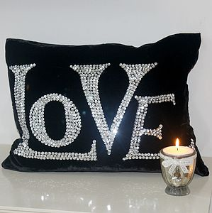 Black Velvet LOVE Cushion - cushions