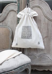 Drawstring Linen Bag With Embroidered Motif - kitchen accessories
