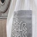 Drawstring Linen Bag With Embroidered Motif