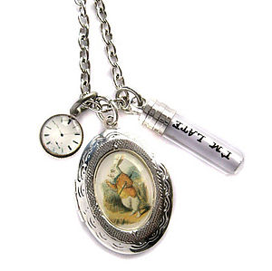I'm Late White Rabbit Locket Necklace