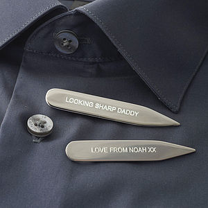 Silver Collar Stiffeners - personalised gifts for him