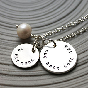 Personalised Silver Disc And Freshwater Pearl Necklace