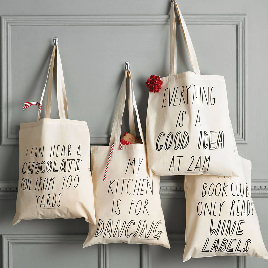 silly slogan tote bag by the joy of ex foundation. Black Bedroom Furniture Sets. Home Design Ideas