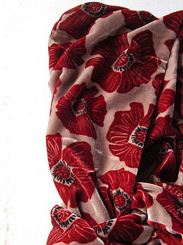 SILK VELVET SCARF POPPY RED