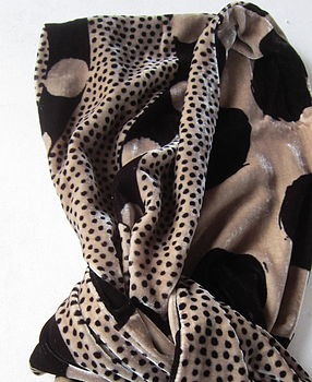 Dotty And Snowball Silk Velvet Scarf