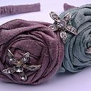 Light Aqua and Lilac silk rose hair band