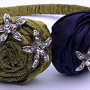 Lime and Dark Navy silk rose hair band