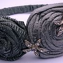 Slate grey green and Aqua silk rose hair band