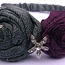 Slate grey green and Blackcurrant silk rose hair band
