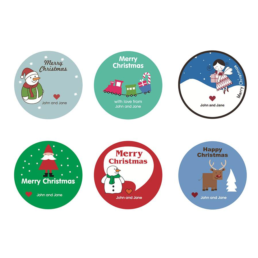 image relating to Printable Christmas Stickers titled Childrens Personalized Xmas Stickers