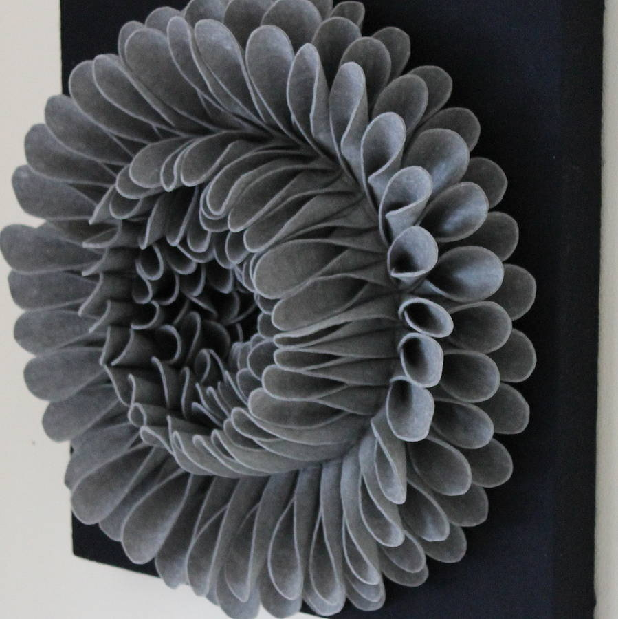 Felt Flowers Wall Decor : Handmade felt flower wall art by sandy a powell