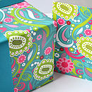 Bllom Gift Wrap and Card set (Blue/green new)