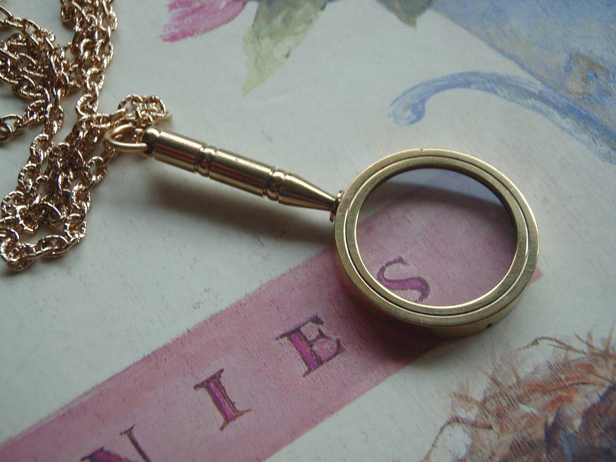 Magnifying glass pendant necklace by madison honey vintage magnifying glass pendant necklace aloadofball Choice Image