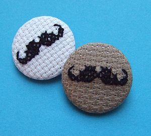 Cross-Stitch Gentleman's Moustache Badge - pins & brooches