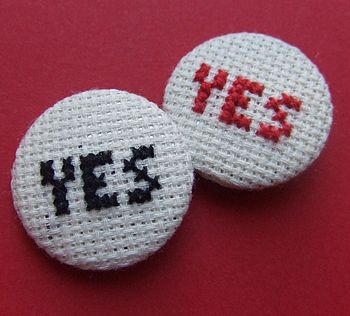 Cross-Stitch Yes Badge