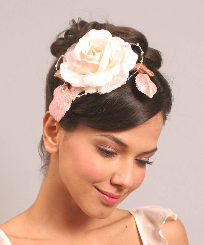 Rose And Pearl Bridal Hair Piece