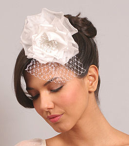 Silk Bridal Rose Hair Comb With Birdcage Veil