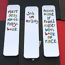 Set Of Three Illustrated Bookmarks 'reading'