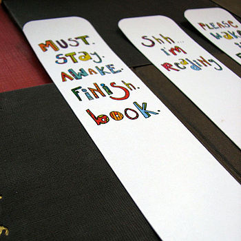 'Reading' bookmarks on smooth card