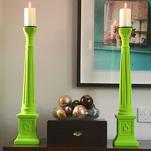 Flocked Trafalgar Candlestick - lighting