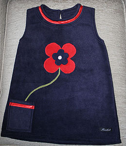 Fleece Dress With Flowerpot Motif