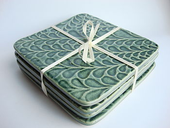 Green Textured Ceramic Coasters