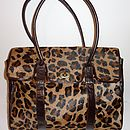 Brown Leather And Leopard Print Glam Work Bag