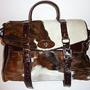 Brown Calf Hair Satchel Style Handbag