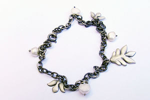 Silver And Freshwater Pearl Charm Bracelet - bracelets & bangles