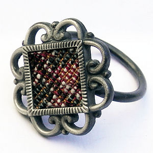 Silver And Textile Ring - rings