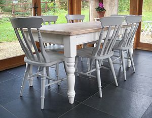Farmhouse Table And Chairs Hand Painted - furniture