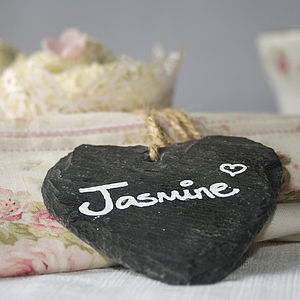 Set Of Four Slate Heart Place Markers - home accessories