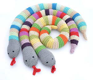 Knitted Snake Toy Rattle