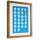 Personalised Robot Alphabet Print White on Blue