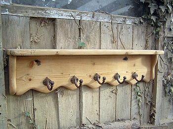 Reclaimed Wood Farmhouse Shelf With Cast Iron Hooks