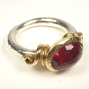 Garnet, Gold Plate And Silver Ring