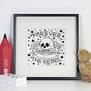 Personalised Rebel Tattoo Print With Diamante