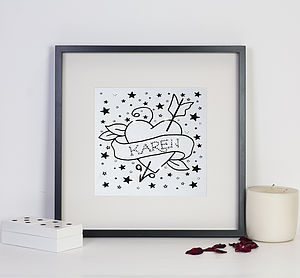 Personalised Heart Tattoo Print With Diamante