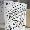 Mum Tattoo Print Card With Diamante
