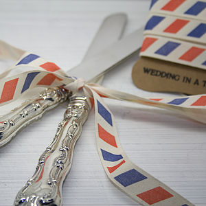 Par Avion Cotton Ribbon - wedding stationery