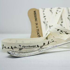 'Life Is Beautiful' Love Birds Cotton Ribbon - wedding favours