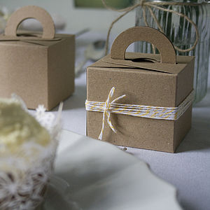 Set Of Ten Recycled Brown Kraft Favour Boxes - ribbon & wrap