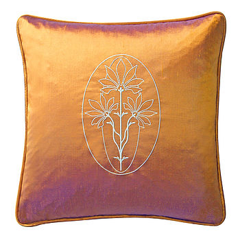 Embroidered Silk Cushion Copper