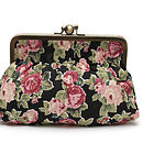 Clutch or cosmetic bag in old rose in black